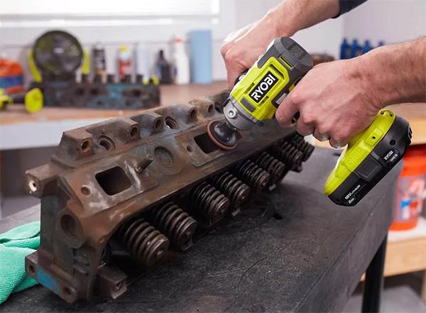 Ryobi 18V Cordless Polisher Sander PBF102B Used on Metal Engine Parts