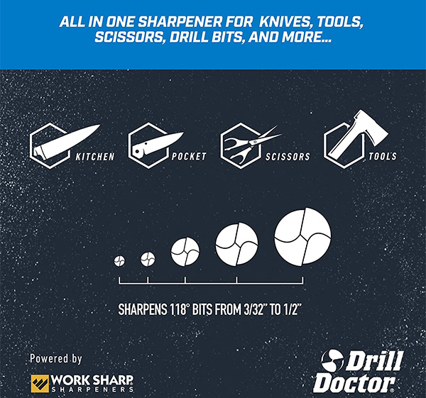 Drill Doctor X2 Drill Bit and Knife Sharpener Compatibility