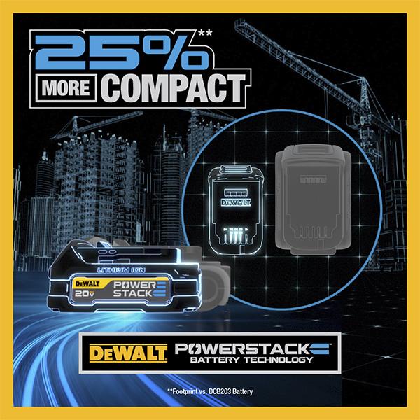 Dewalt PowerStack Cordless Power Tool Battery Size Benefit