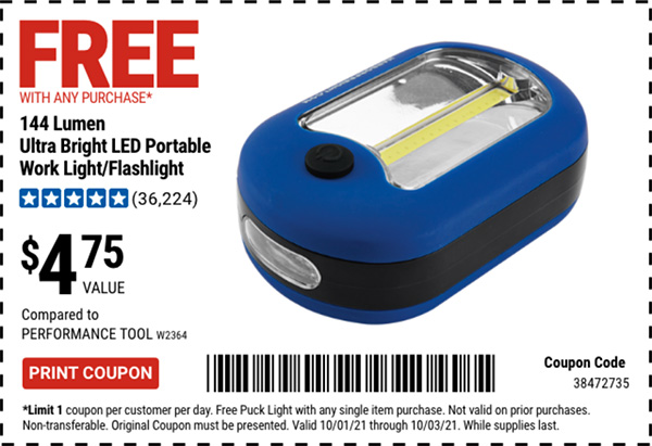 Harbor Freight Free LED Worklight Coupon October 2021