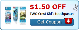 $1.50 off TWO Crest Kid's toothpastes