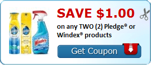 Save $1.00 on any TWO (2) Pledge® or Windex® products