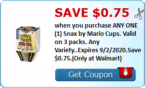 Save $0.75 when you purchase ANY ONE (1) Snax by Mario Cups. Valid on 3 packs. Any Variety..Expires 9/2/2020.Save $0.75.(Only at Walmart)