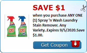 Save $1.00 when you purchase ANY ONE (1) Spray 'n Wash Laundry Stain Remover. Any Variety..Expires 9/5/2020.Save $1.00.