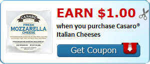 Earn $1.00 when you purchase Casaro® Italian Cheeses