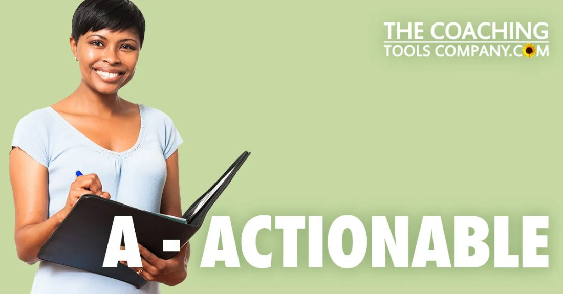 Coach with Folder and Pen setting SMART Goals for A - ACTIONABLE