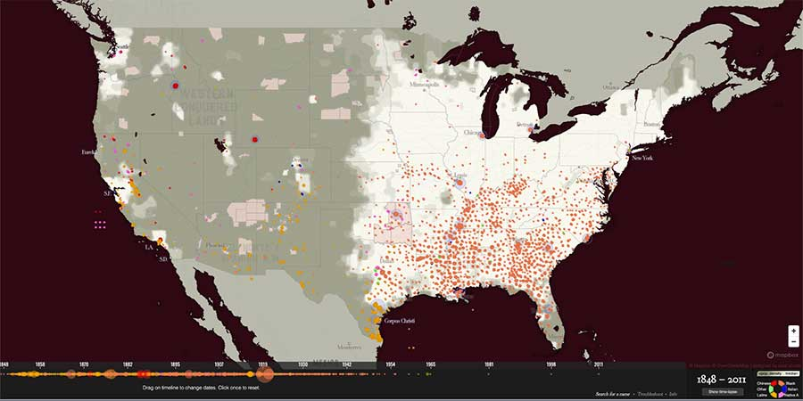 Map of Lynchings in the US — 1848 to 2011