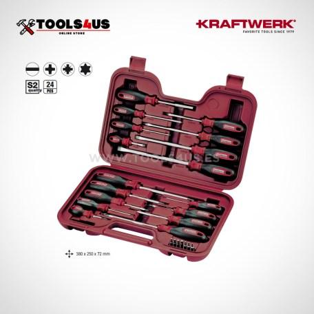 4168 Estuche de destornilladores/puntas para tornillos de ranura, Phillips, Pozidriv y TX 02