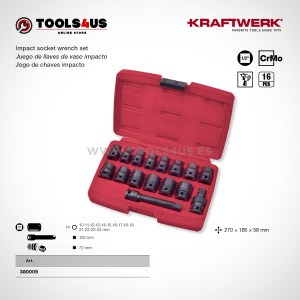 380005 KRAFTWERK herramientas taller barcelona españa Juego Vasos de impacto media pulgada Cortos 16 piezas 01