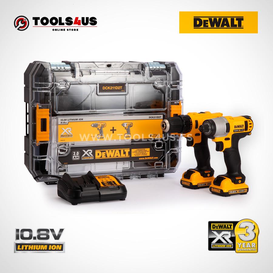 OFERTA DCK211D2T-QW DEWALT KIT taladro atornillador + atornillador impacto + maletin organizador 10.8v herramientas profesionales _03