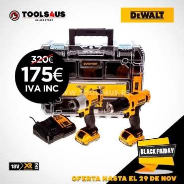 Kit taladro + atornillador de impacto a batería #dewalt #herramientas #blackfriday 175€ ???????