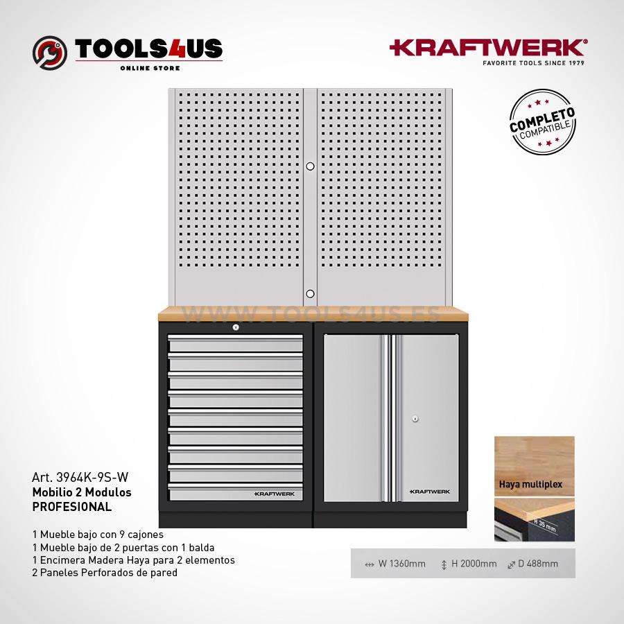 3964K 9S W Mueble taller oficina laboratorio garage profesional herramientas kraftwerk barcelona 01 - Mueble Taller 2 Elementos con Paneles Altos 3964K-9S-W