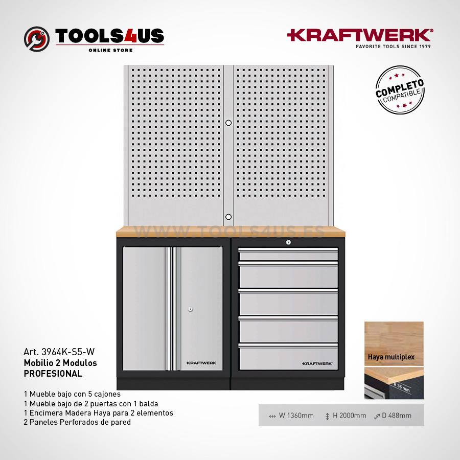 3964K S5 W Mueble taller oficina laboratorio garage profesional herramientas kraftwerk barcelona 01 - Mueble Taller 2 Elementos con Paneles Altos 3964K-S5-W
