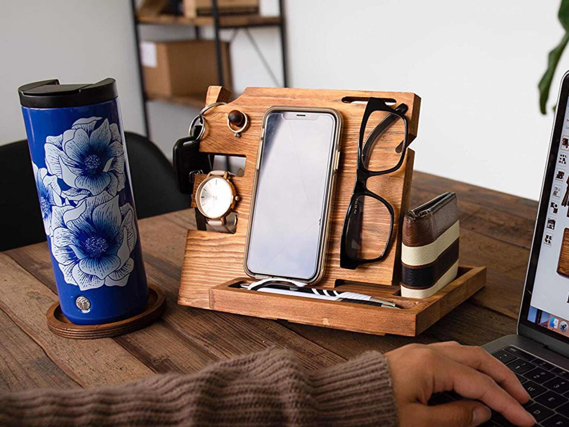 Peraco Wooden Docking Station Nightstand Organizer Tools