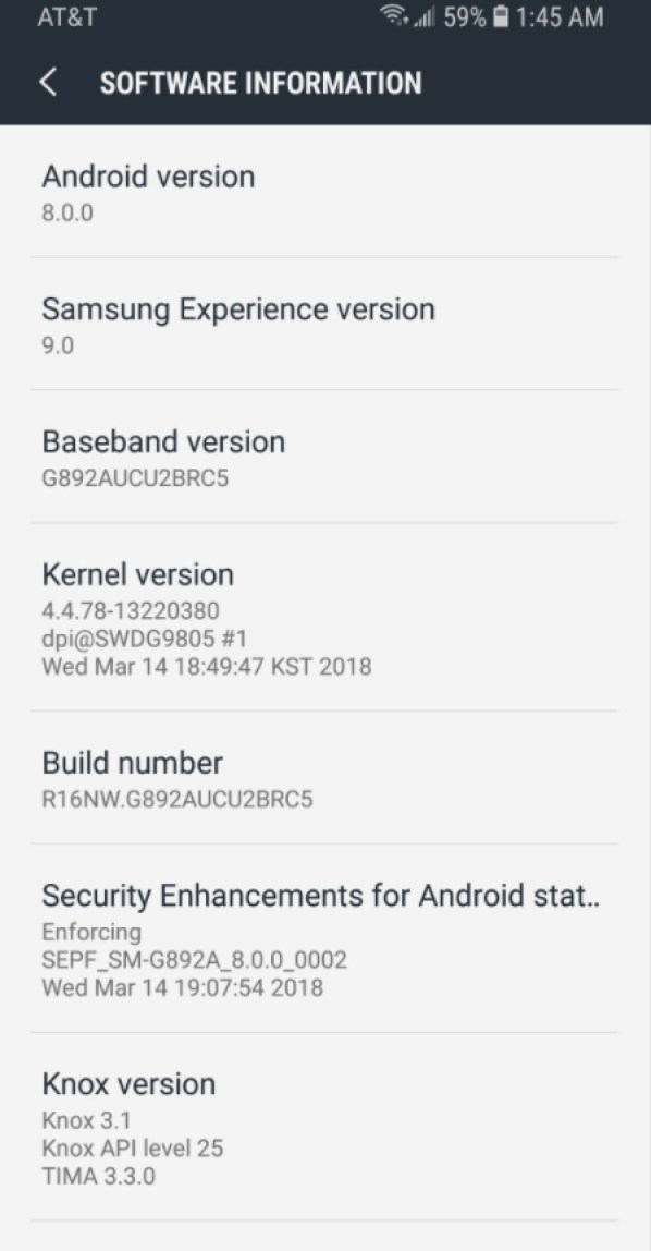 AT&T Galaxy S8 Active Oreo Update