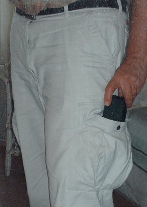 Cargo pants pocket with wallet