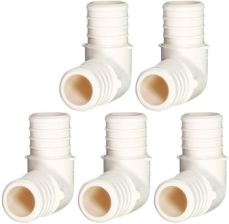 Supply Giant QQMO0012-5 Plastic PEX Poly Alloy 90 Degree Elbow Barb Pipe Fitting