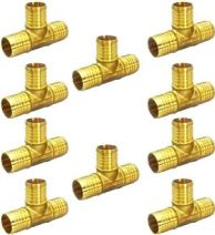 Supply Giant QYUF0012 PEX Barb Tee Pipe Fittings Brass