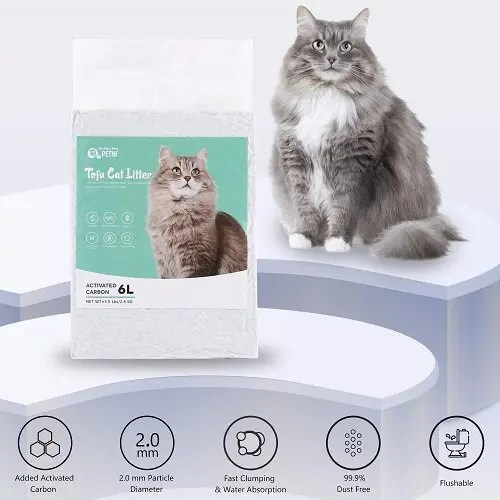 Tofu Cat Litter, Natural Flushable Kitty Litter Unscented
