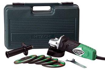 "Hitachi G12SR3 4-1/2"" 6-Amp Angle Grinder with 5 Abrasive Wheels"