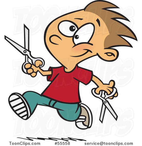 Happy Boy Dangerously Running With Scissors Cartoon 55558