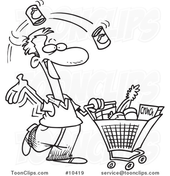 Cartoon Black And White Line Drawing Of A Guy Grocery