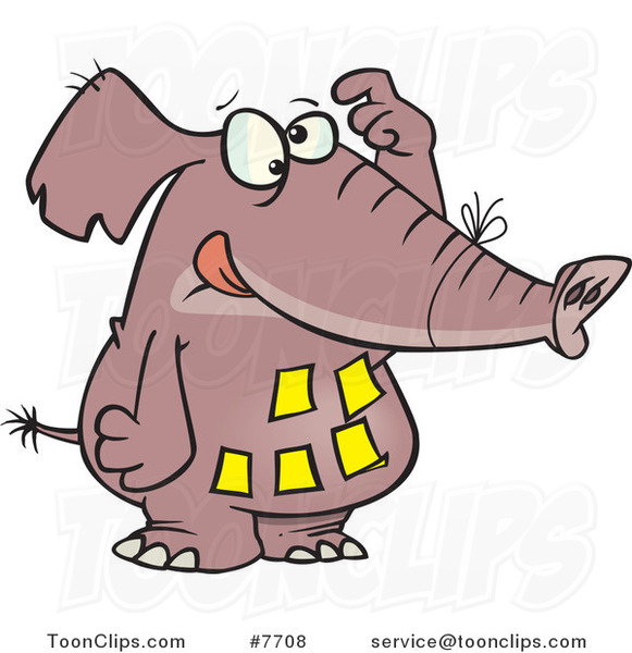 Cartoon Forgetful Elephant With Notes On His Belly 7708