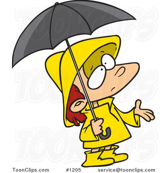 Cartoon Girl In Rain Gear Waiting For Showers 1205 By