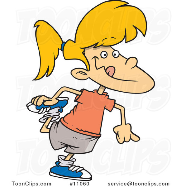 Cartoon Girl Stretching 11060 By Ron Leishman