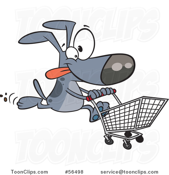 Cartoon Gray Dog Running With A Shopping Cart 56498 By