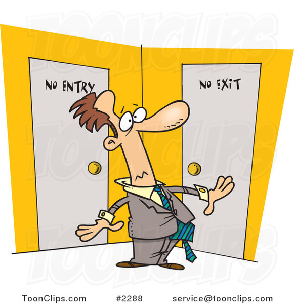 Cartoon Guy Stuck In A Room With No Exit 2288 By Ron Leishman