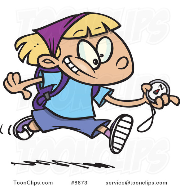 Cartoon Hiker Girl Running With A Compass 8873 By Ron