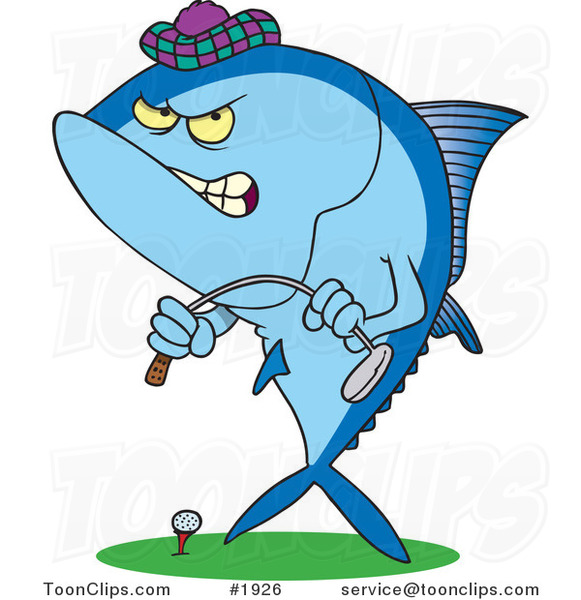 Cartoon Mad Tuna Fish Playing Golf 1926 By Ron Leishman