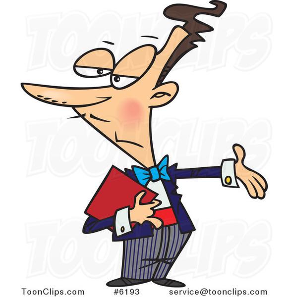 Cartoon Maitre D Gesturing 6193 By Ron Leishman
