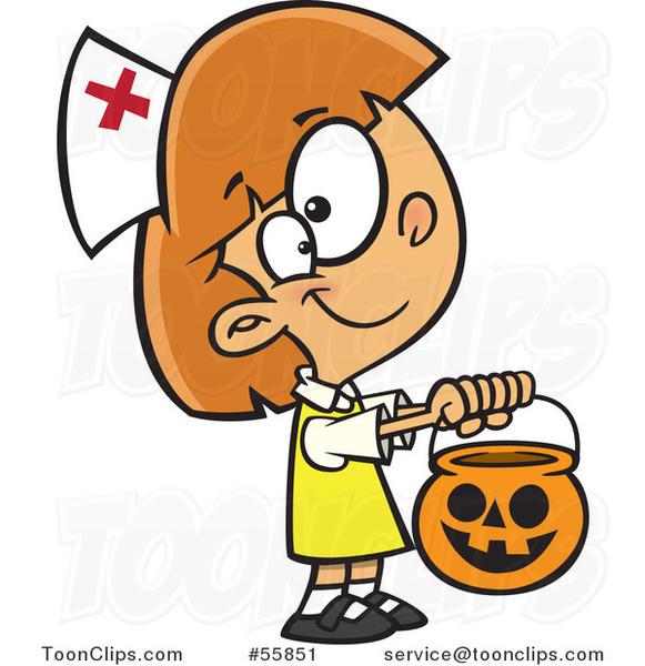 Cartoon White Girl Trick Or Treating In A Nurse Halloween