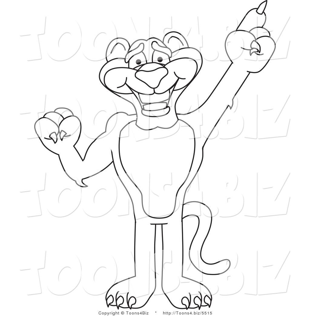 Line Art Vector Illustration Of A Cartoon Panther Mascot
