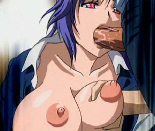 Blue Haired Hentai Babe Sucks A Cock