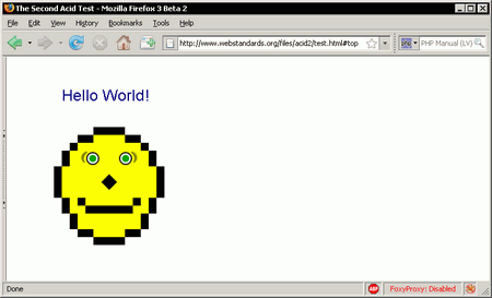 Mozilla Firefox 3.0b2 Acid2 test