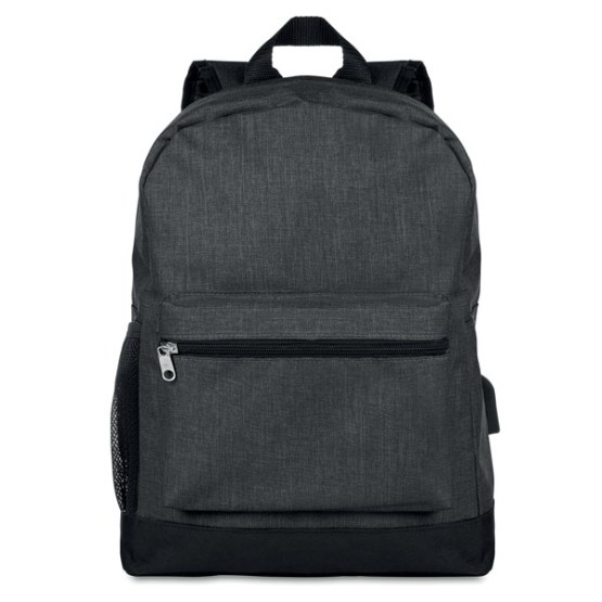 black two tone melange backpack