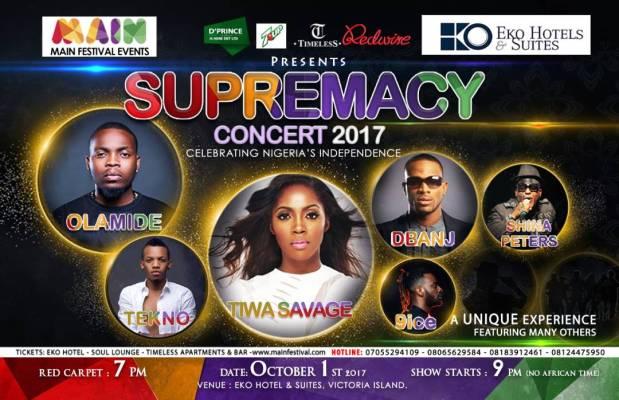 IMG 20170907 WA0006 - Celebrate Nigeria's Independence Day With Olamide, Sir Shina Peters, Tiwa Savage, D'Banj, Tekno & 9ice – Sunday, 1st October 2017