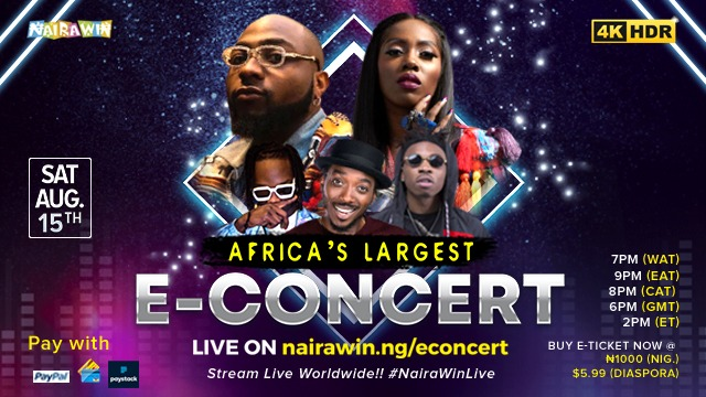 Davido, Tiwa Savage, Naira Marley and Mayorkun to perform in 4KHD at Africas largest E-concert, NairaWin Live « tooXclusive