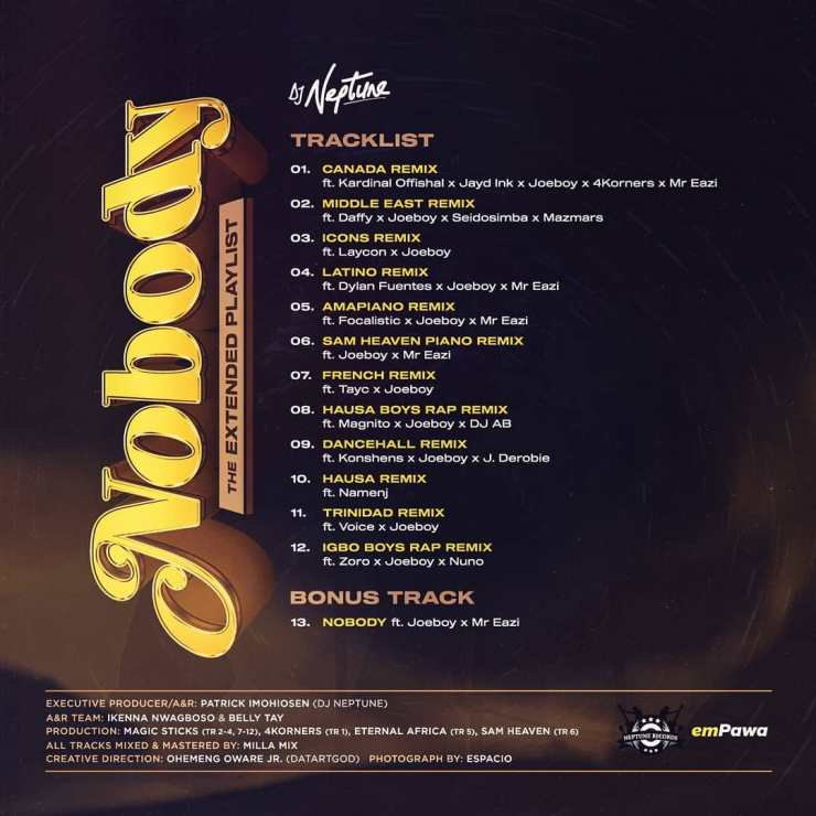 "[EP] DJ Neptune – ""Nobody"" The Extended Playlist (Worldwide Remixes) 17"