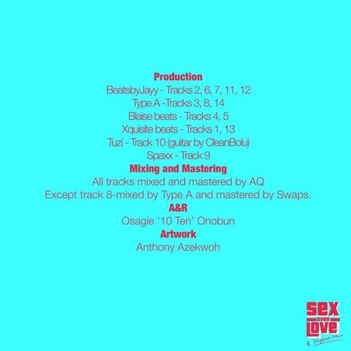 "[Album] Blaqbonez – ""Sex Over Love"" ft. Nasty C, Joeboy, Laycon… 7"