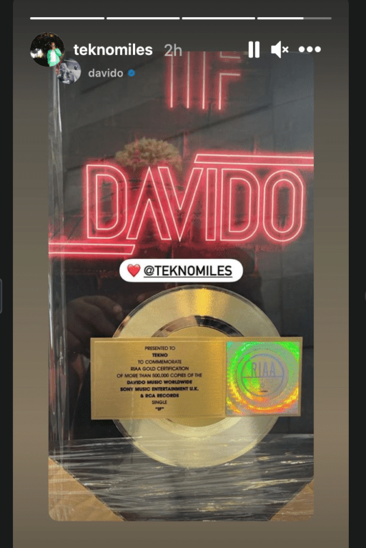 Tekno Presented With RIAA Gold Certificate For His Effort On The Hit Song – 'IF', Davido Celebrates Him 2