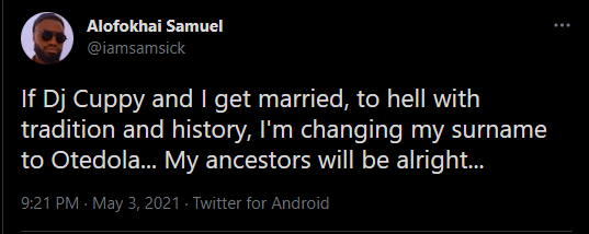 Twitter User Vows To Change His Surname After Marrying Cuppy 2