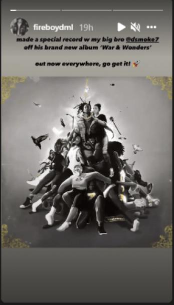 Fireboy Celebrates His Feature On D Smoke's New Album, War & Wonders. 2