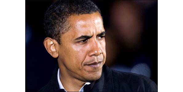cabeza azul de Obama rodeado de clip art incompleta