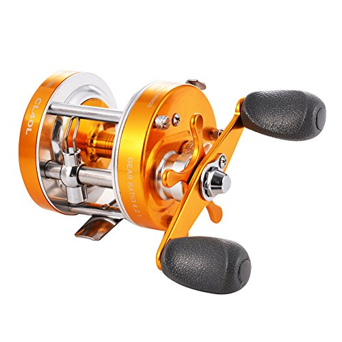 Isafish Bait casting Fishing Reel Golden Right Hand Baitcaster Reel with Oversized Handle
