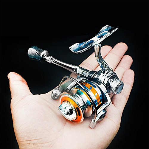 Isafish Spinning Reel Light Weight Ultra Smooth Powerful Zinc Alloy Spinning Fishing Reel Left Right Interchangeable Collapsible Handle with 2 Ball Bearings