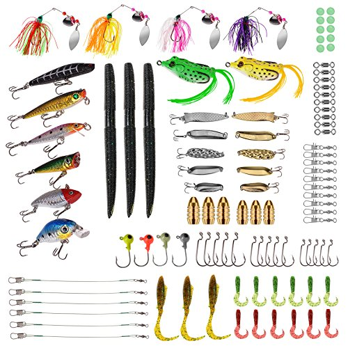 PLUSINNO Fishing Lures Baits Tackle, BEST BASS Fishing Lures Including Crankbaits, Spinnerbaits, Plastic worms, Jigs, Topwater Lures , Tackle Box and More Fishing Gear Lures Kit Set